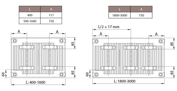 Positie van Stelrad Novello 8 ophangstrippen paneelradiatoren type 11