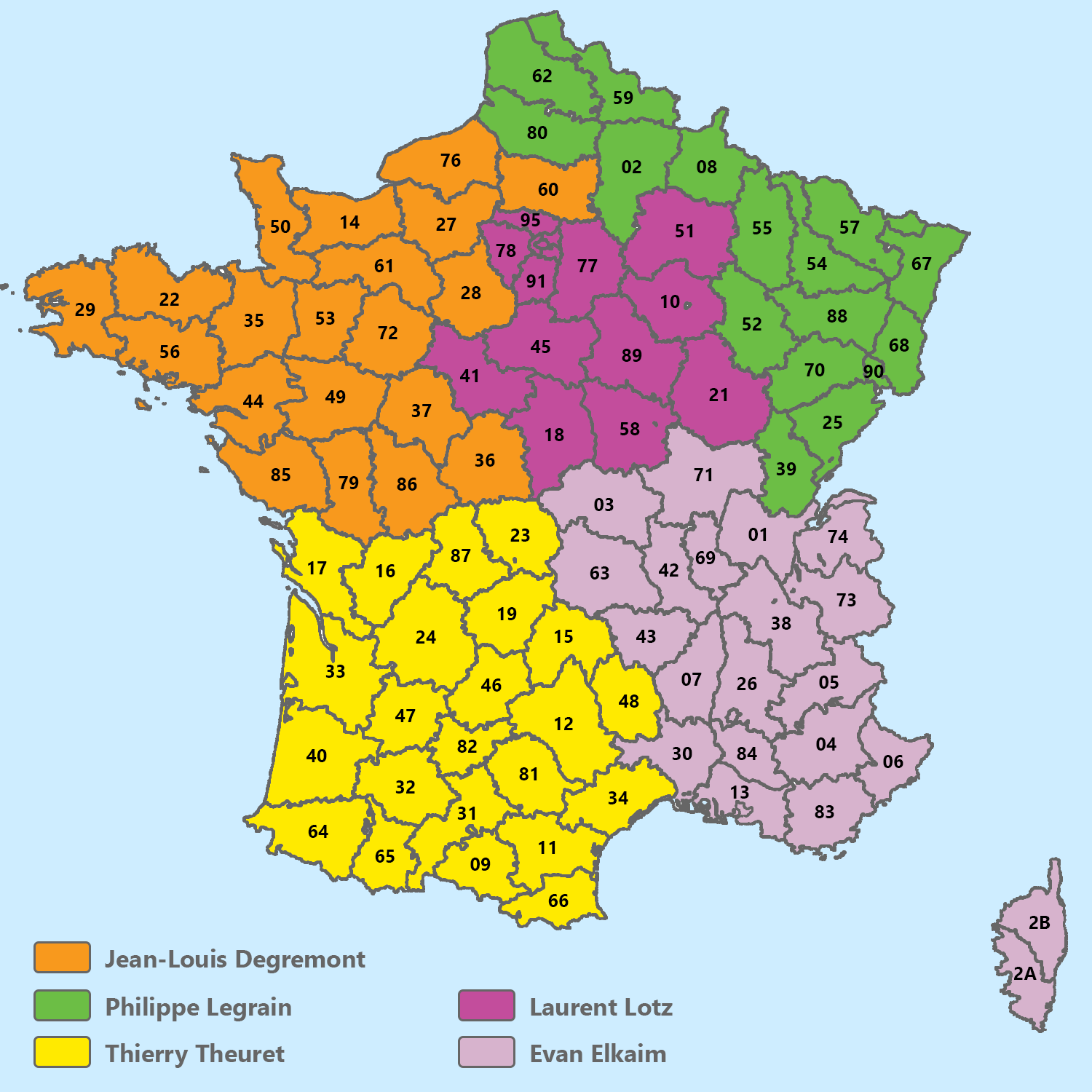 Map France représentants